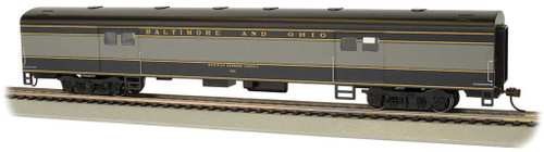 72' Smooth-Side Baggage - Ready to Run -- Baltimore & Ohio #763 (blue, gray, black) - Scale: HO