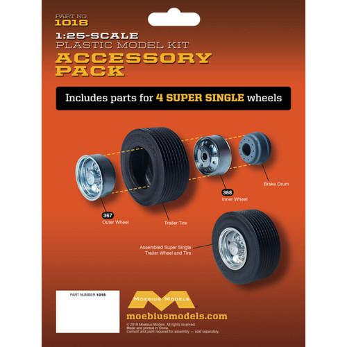 Moebius 1018 - 1/25 Super Single Trailer Wheel & Tire Set (4)