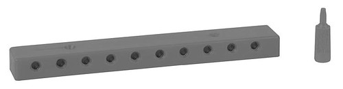 """Low-Voltage Distribution Terminal (Plate) -- 10 Sockets and Plugs, 3/32"""" 2.5mm (black)"""