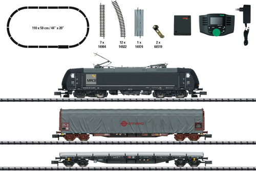 Freight Train Starter Set with Mobile Station - Sound and DCC - Minitrix -- Mitsui Rail Capital Europe MRCE 185.1, 2 Cars, C-Track Oval, Mobile Station - Scale: N