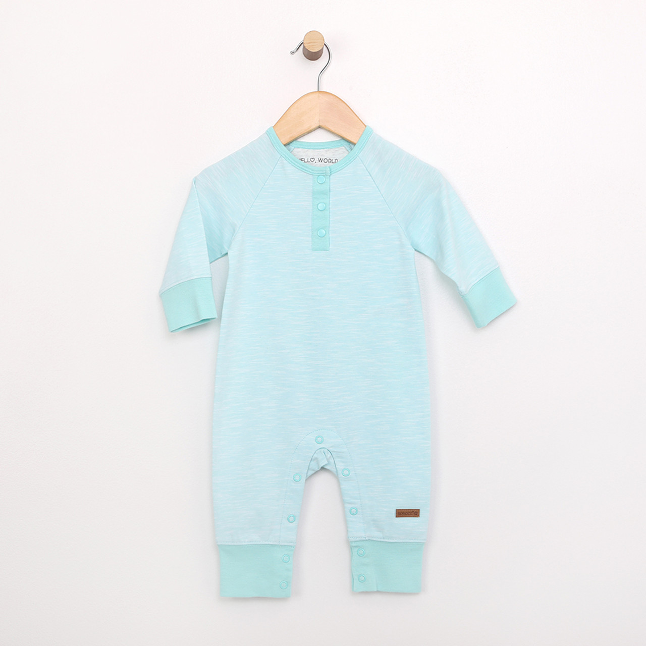 08769cb2b0 Turquoise cotton coverall onepiece bodysuit for babies