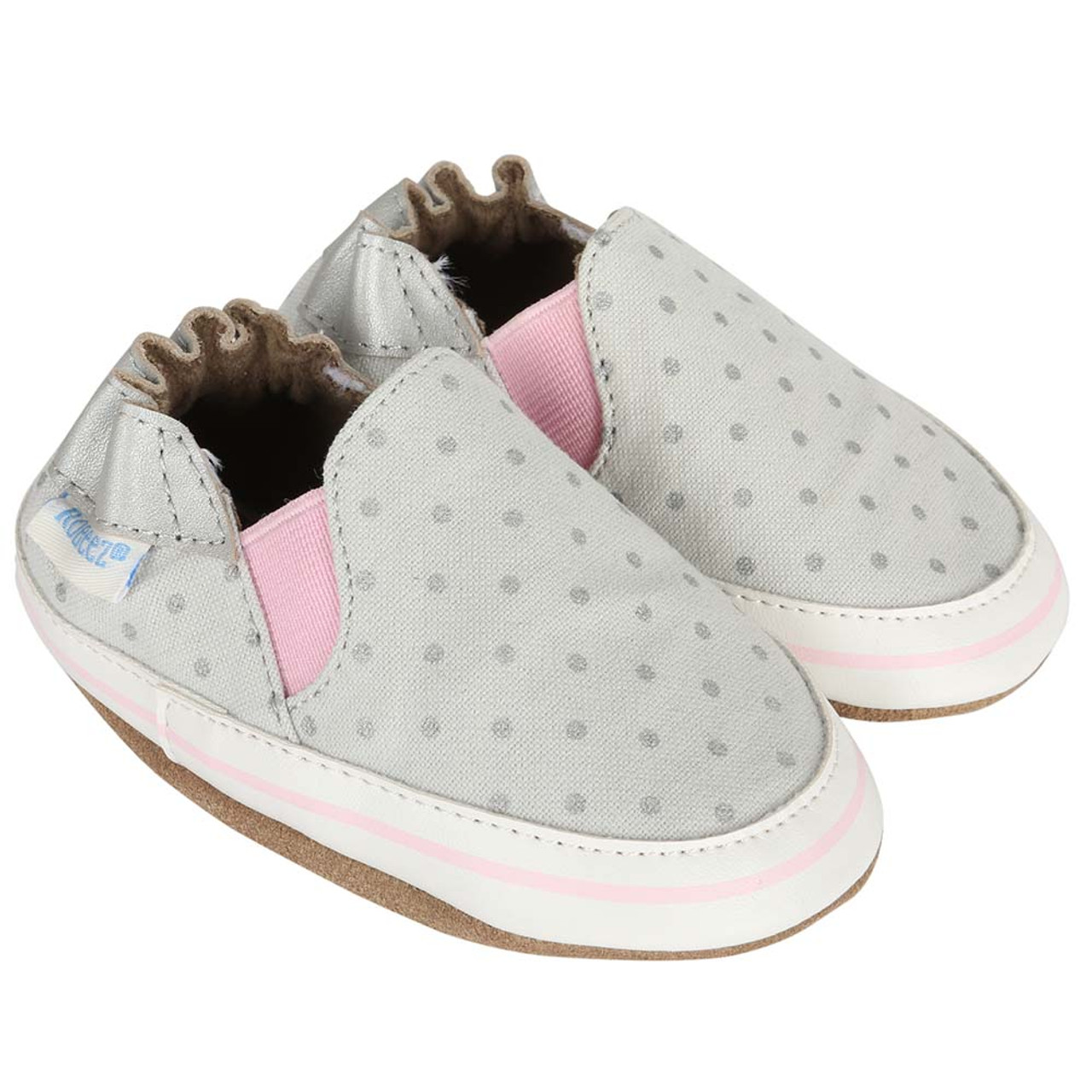 2ecf386d Girls Baby Shoes for ages 0 -24 months. Grey with Grey polka dots.