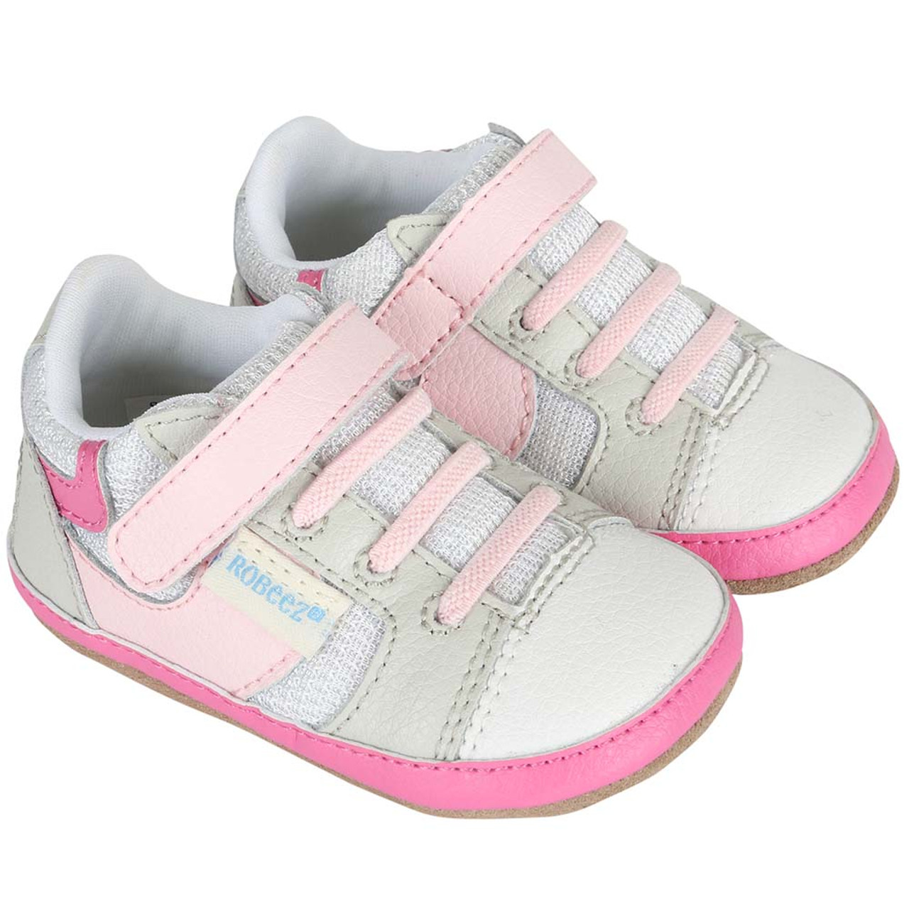 fdfc411a9eb2c Girls baby shoes in white and pink leather. Designed to look like mom's  athletic sneaker