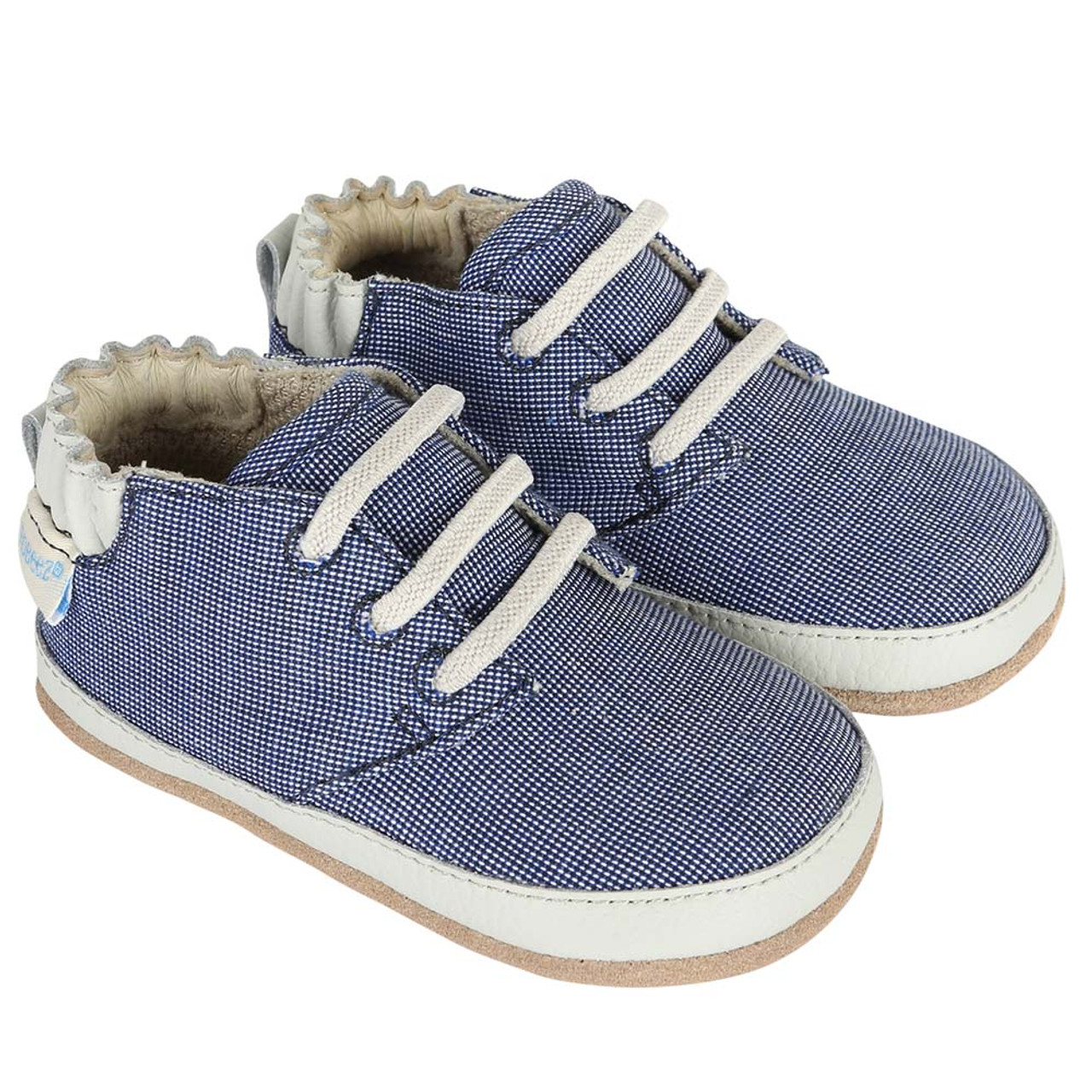 825a0a86a215 Navy canvas baby shoes with faux laces. Soft soles with rubber outer sole.  For