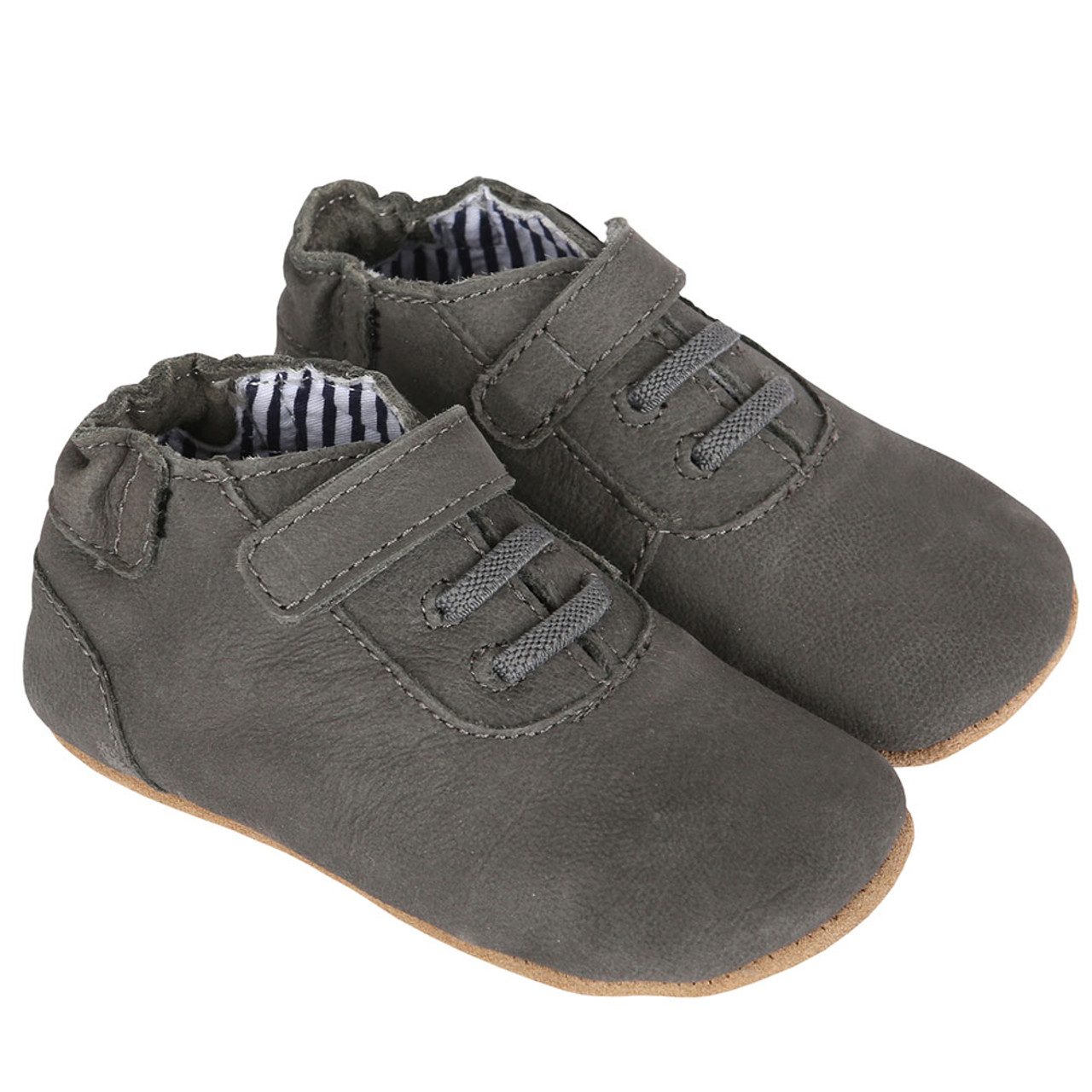 89c43685ac3e ... Robeez George First Kicks. Boys baby shoes in grey leather with faux  laces. First Kicks have soft soles but