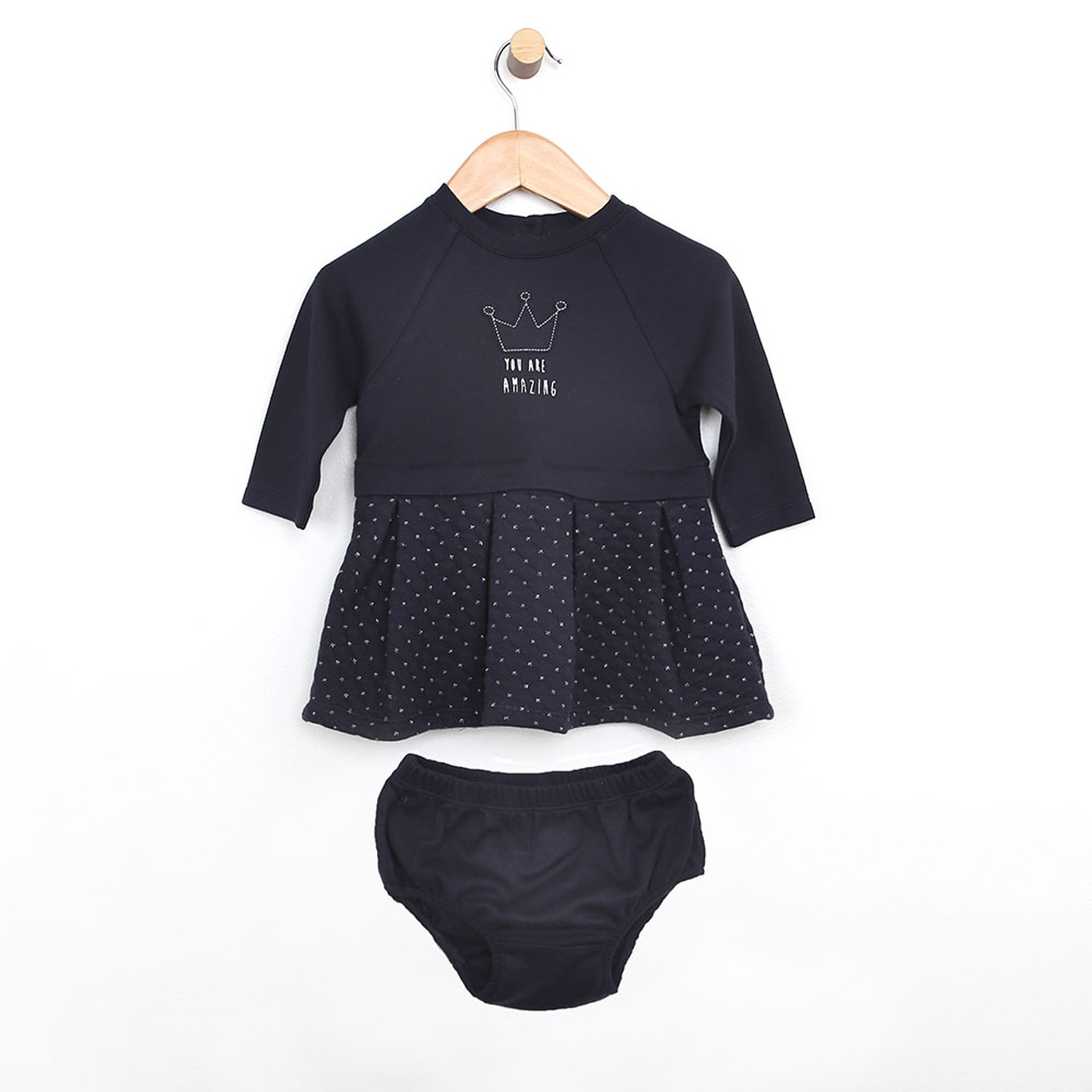 430b135e9 Dress for baby, infant and toddler girls. Navy blue quilted dress with diaper  cover