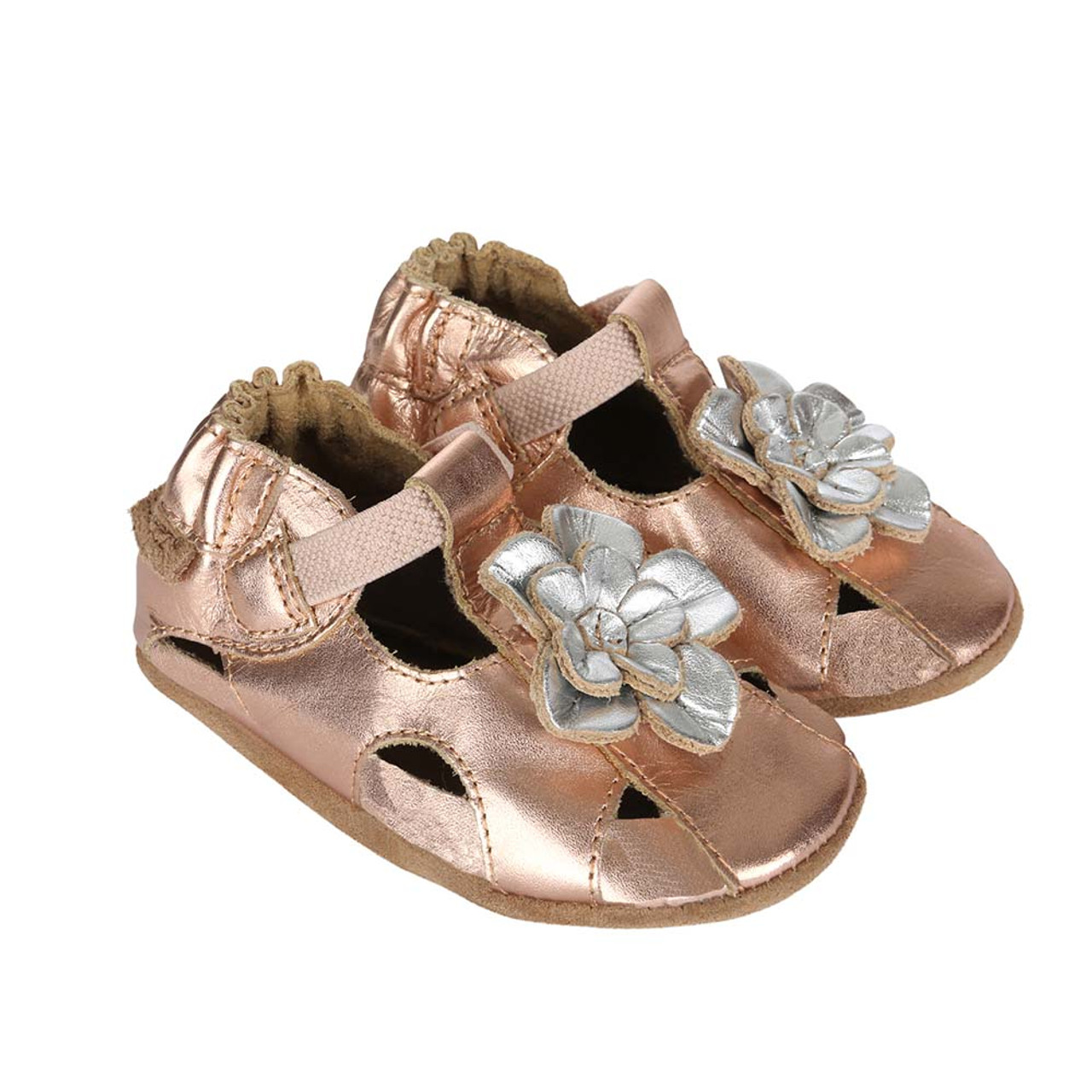 49531402eacd Side Pretty Pansy Gold Soft Soles  This gold sandal features a silver flower  on it s