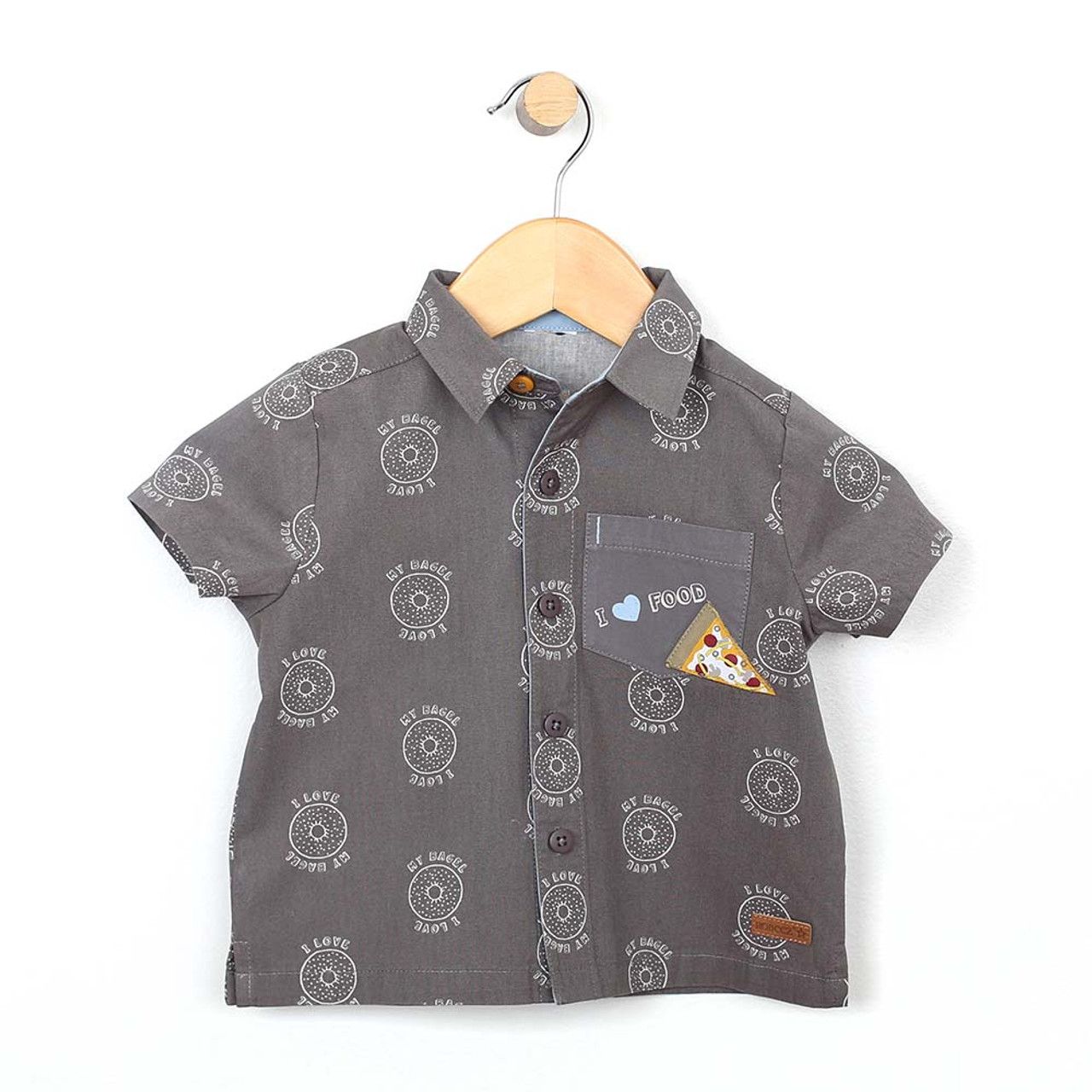 d23bbd68bd0 Grey cotton button front woven shirt screen printed with bagels and  features a pizza applique.