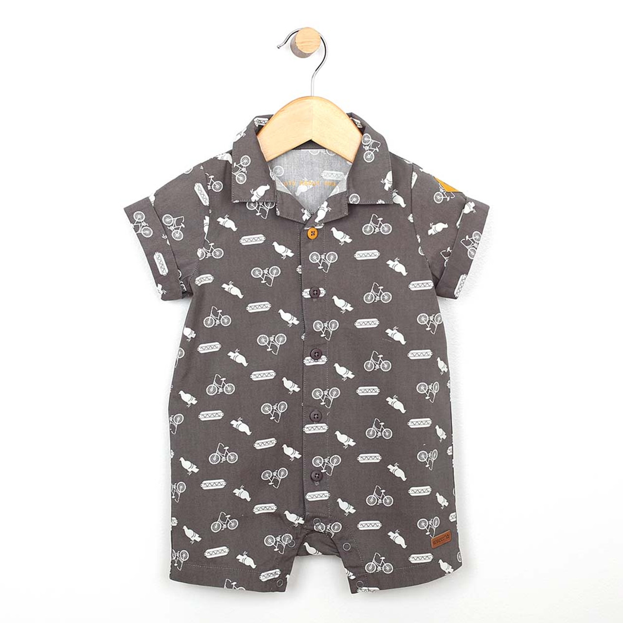 53ed3c9ce81 Grey cotton one piece romper for baby and toddler boys. Screen printed with  icons.