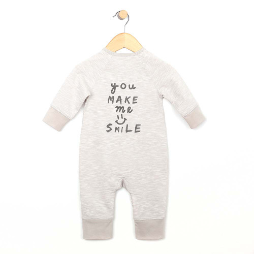 Back: Heather grey coverall for boy and girl infants and toddlers