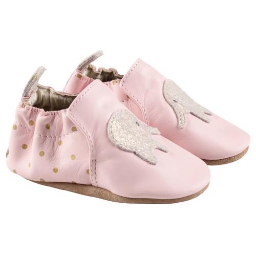 Robeez Pink Ella Elephant Soft Soles - Angle