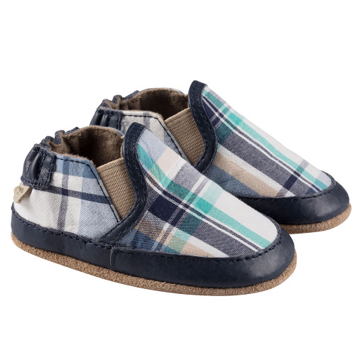Robeez Navy Plaid Liam Soft Soles - Angle