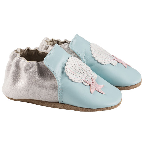 Robeez Blue Shell and Sand Soft Soles - Angle