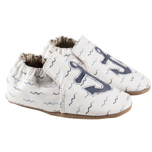 Robeez White On Board Soft Soles - Angle