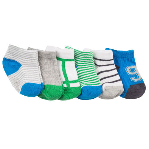 Robeez Sporty Spencer Socks, 6-Pack