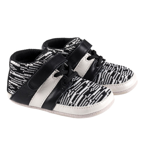 Robeez Black and White Mason Mini Shoez - Angle