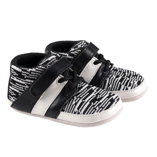 Robeez Black and White Mason Mini Shoez - Angle