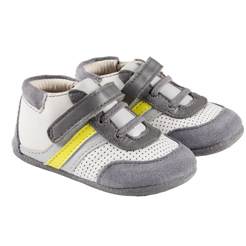 Robeez Grey and Yellow Everyday Ethan Mini Shoez - Angle