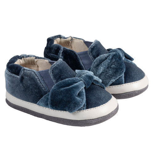 Angle - Robeez Blue Bella Bow Mini Shoez