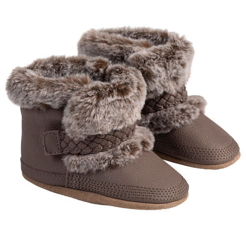 Angle - Robeez Brown Montana Soft Soles Boots