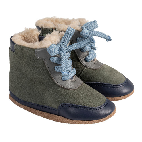 Angle - Robeez Green Wyatt Soft Soles Boots