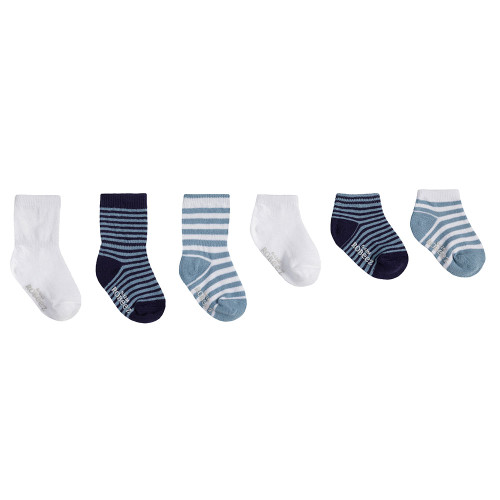 Robeez Blue Essentials Socks, 6-Pack
