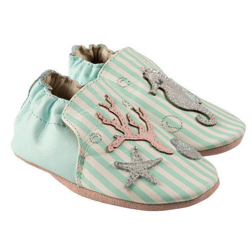 Robeez Coral Soft Soles, Aqua Leather - Angle