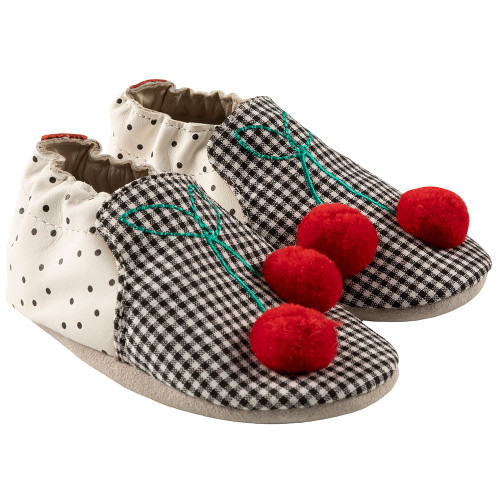Robeez Cherry Soft Soles, Black/White Leather - Angle