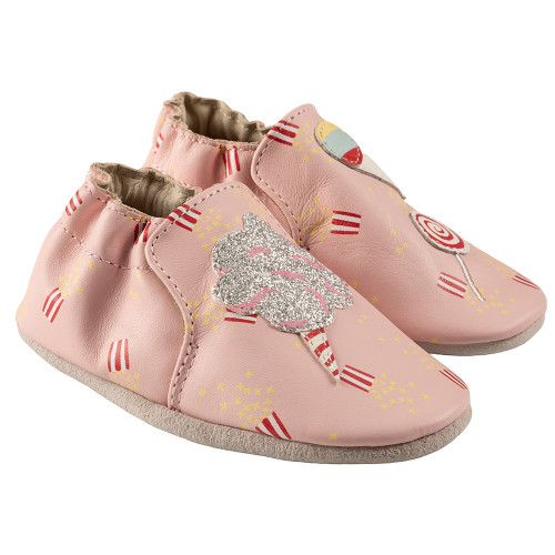 Robeez Dolce Soft Soles, Pink Leather - Angle
