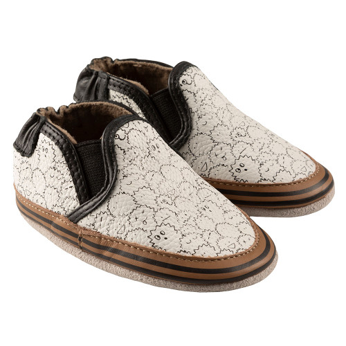 Robeez Sully Soft Soles, Black/White Leather - Angle