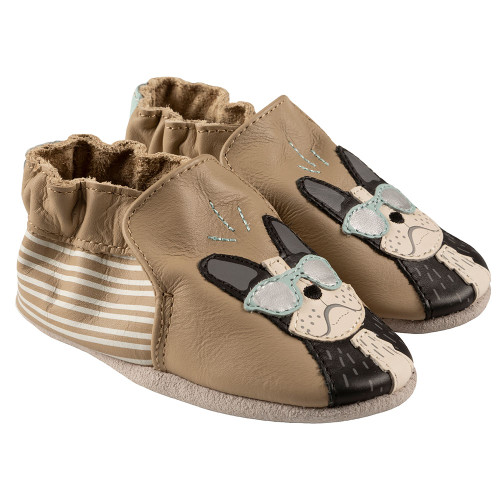 Robeez Vitto Soft Soles, Khaki Leather - Angle