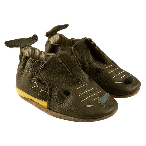 Robeez Drake Soft Soles,  Olive Green Leather - Angle