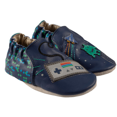 Robeez Sonic Soft Soles,  Blue Leather - Angle