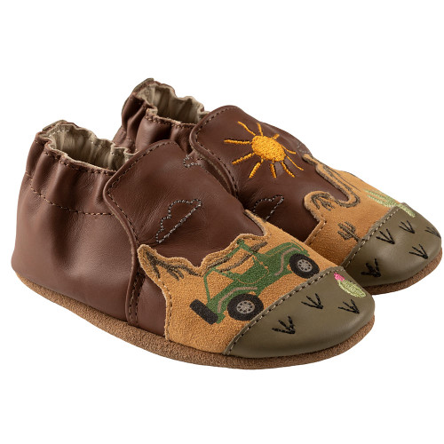 Robeez Indio Soft Soles, Brown Leather - Angle