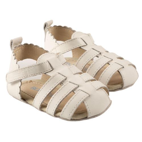 Robeez Lola First Kicks, White Leather - Angle