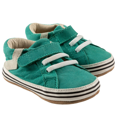 Robeez Adam First Kicks, Green Leather - Angle