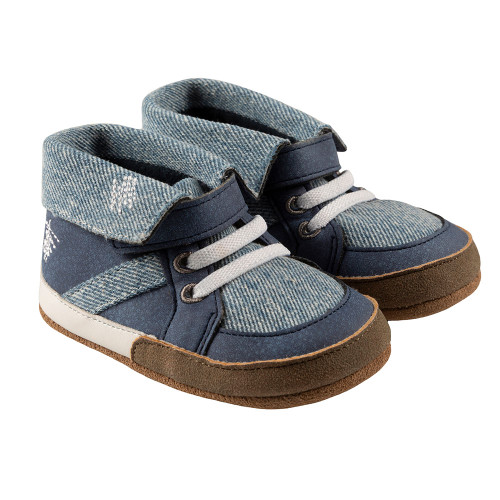 Robeez Grayson First Kicks, Blue Leather - Angle