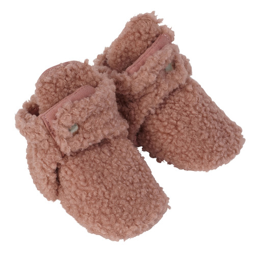 Robeez Sherpa Pink Snap Booties
