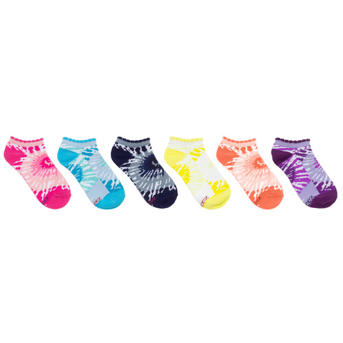 Tie Dye 6 Pack No Show Socks Multi