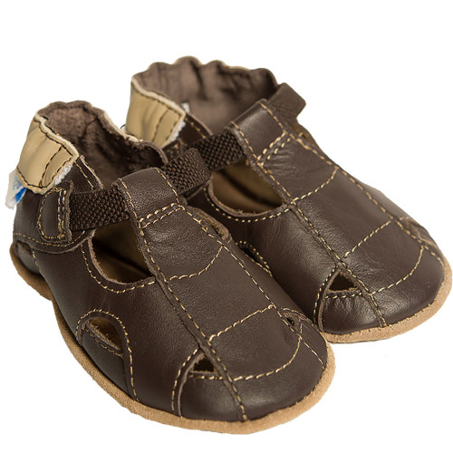 Robeez Fisherman Sandal Brown Soft Soles - Angle