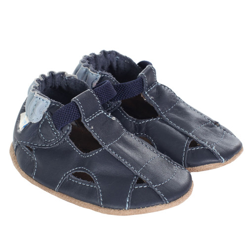 Robeez Fisherman Sandal Navy Soft Soles  - Angle