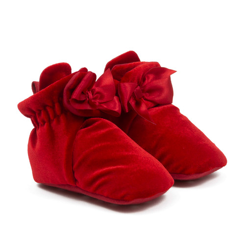 Holiday Bow Snap Booties Red