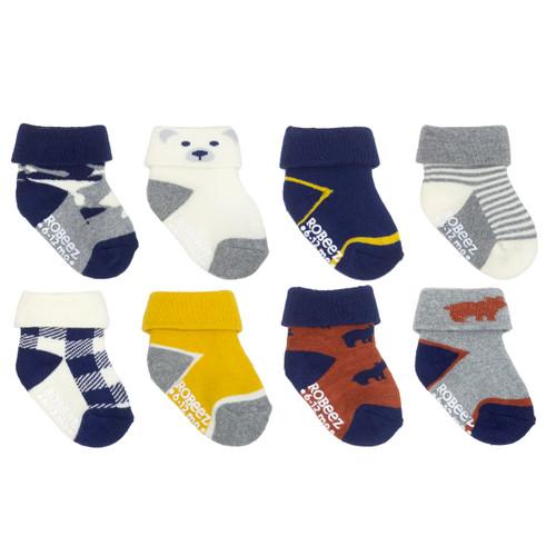 Beary Cute 8-Pack Infant Cuff Socks