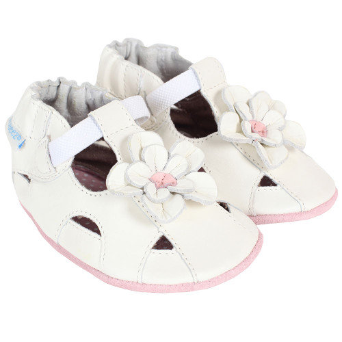 Robeez Pretty Pansy White Soft Soles - Angle