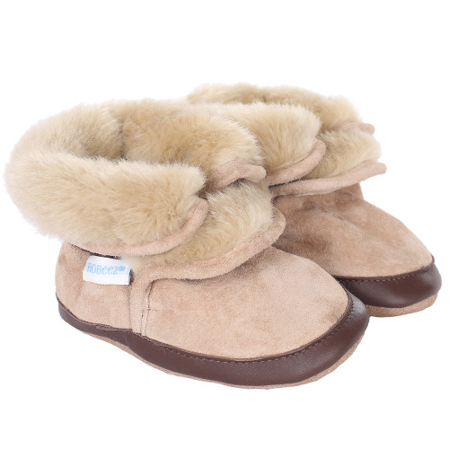 Robeez Cozy Ankle Bootie Soft Soles, Tan, Boys, Baby, Infant, Pre-Walker, Toddler, Boots, 0-24 Months, side