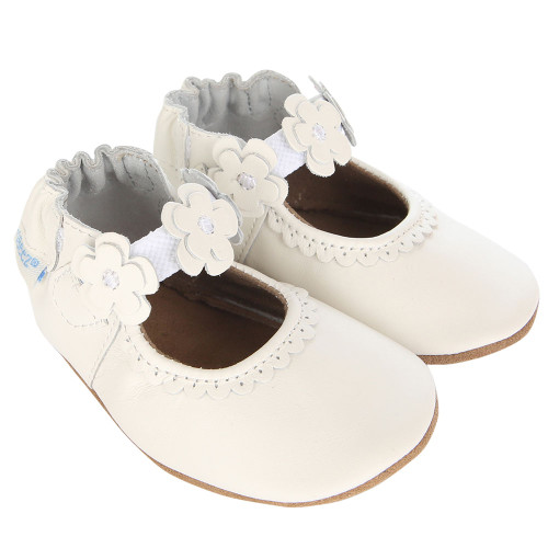 Robeez Claire Mary Jane White Soft Soles - Angle