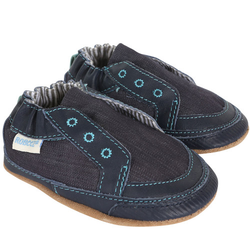 Robeez Stylish Steve Navy Soft Soles - Angle