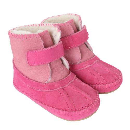 Robeez Galway Cozy Boots Pink Soft Soles
