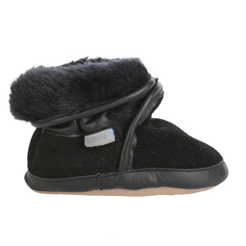 7d558cf23e05 ... Robeez Cozy Ankle Boots Black Soft Soles ...