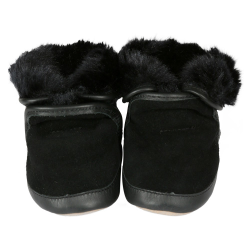 Robeez Cozy Ankle Boots Black Soft Soles